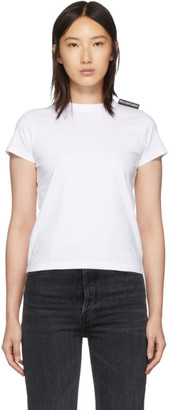 Balenciaga White Logo Tab Fitted T-Shirt