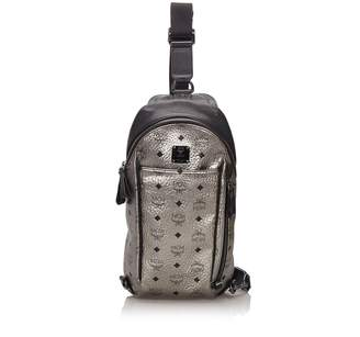 MCM Silver Visetos Stark Sling Backpack