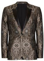 Topman Gold Jacquard Contrast Lapel Skinny Fit Tuxedo Jacket