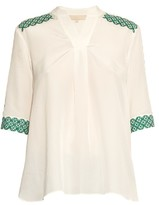 Vanessa Bruno Ducey broderie-anglaise silk-crepe blouse