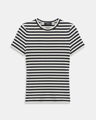 Theory Tiny Tee in Striped Ribbed Knit