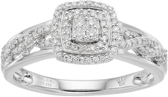 Hallmark Love Found Us Sterling Silver 1/4 Carat T.W. Diamond Cluster Square Halo Ring