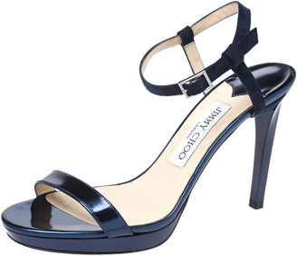 Jimmy Choo Metallic Blue Leather Minny Ankle Strap Sandals Size 37