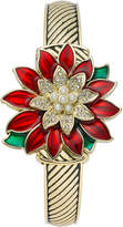 Charter Club Holiday Lane Women's Gold-Tone Poinsettia Flip Watch 31mm, Created for Macy's