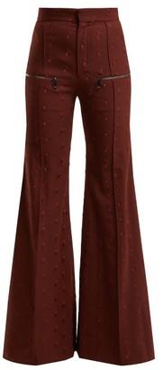 Chloé Little Horses High Rise Wool Blend Trousers - Womens - Burgundy