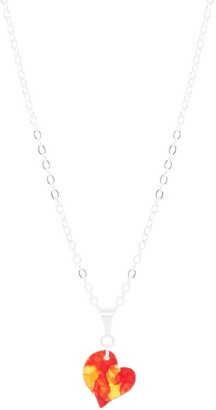 Odell Design Studio Silver Petit Heart Necklace - Flame