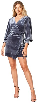 Bardot Bernie Velour Dress (Grey/Blue) Women's Dress