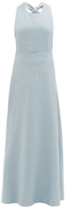 ALBUS LUMEN Lima Neck-tie Linen Maxi Dress - Blue
