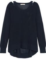 MICHAEL Michael Kors Cutout Open-knit Sweater - Navy