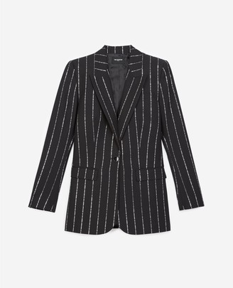 The Kooples Flowing black fabric jacket w/silver stripes