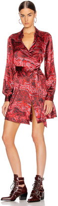 Ganni Silk Stretch Satin Mini Dress in Samba | FWRD