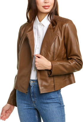 Cole Haan Zip Front Linen-Lined Leather Jacket