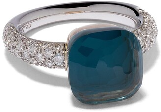 Pomellato 18kt white & rose gold Nudo Classic topaz and diamond ring