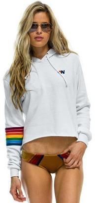 Singer22 Rainbow Stitch Sleeve Pullover Crop Hoodie