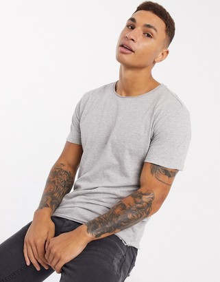 Brave Soul raw edge t-shirt in light gray marl