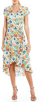 WAYF Oleander Layered Floral Wrap Dress