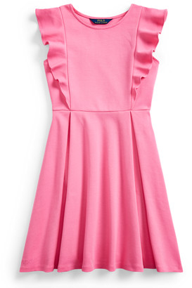 Ralph Lauren Ruffled Stretch Ponte Dress