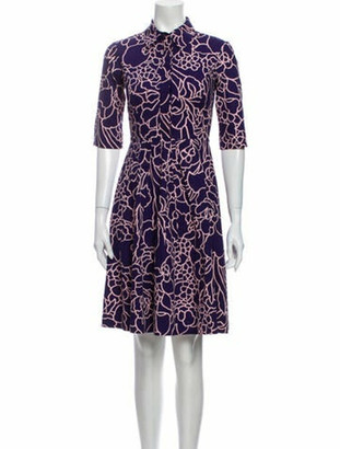 Oscar de la Renta Printed Knee-Length Dress Purple