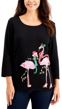 Karen Scott Plus Size Embellished Flamingo-Graphic Top, Created for Macy's