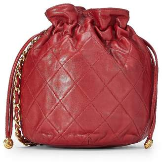 Chanel Red Quilted Lambskin Bucket Bag Mini
