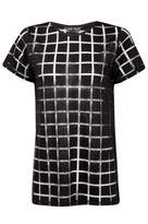 Select Fashion Fashion Womens Black Square Burnout Tee - size 6