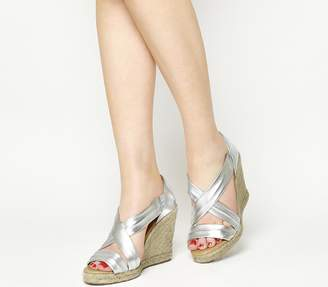 Office Holiday Wedge Espadrilles Silver Leather