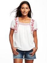 Old Navy Relaxed Embroidered Swing Top for Women