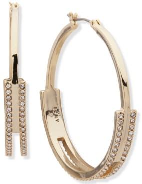"""DKNY Gold-Tone Medium Pave Split Hoop Earrings, 1.7"""""""