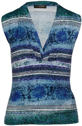 Conquista Print Faux Wrap Sleeveless Top In Petrol