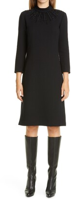 Lafayette 148 New York Adira Embellished Nouveau Wool Crepe A-Line Dress
