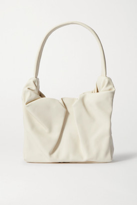 STAUD Felix Gathered Leather Shoulder Bag - Cream