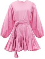 Rhode Resort Ella Fluted Cotton Mini Dress - Womens - Pink