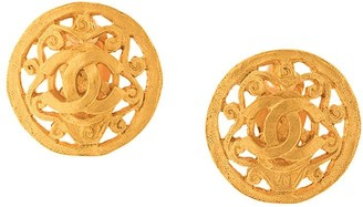 Chanel Pre Owned cut off CC button earrings