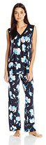 Midnight by Carole Hochman Women's Washed Satin Printed Pajama