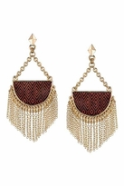 House Of Harlow Tassel Crescent Earrings in Red