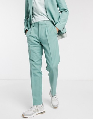 ASOS DESIGN slim suit pants in green stripe