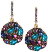 Betsey Johnson Gold-Tone Purple and Blue Crystal Round Drop Earrings