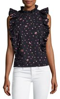 Rebecca Taylor Mia Floral-Print Sleeveless Ruffle Top, Navy