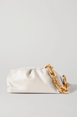 Bottega Veneta The Chain Pouch Gathered Leather Clutch - White