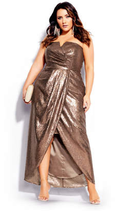 City Chic Sequin Siren Maxi Dress - gold