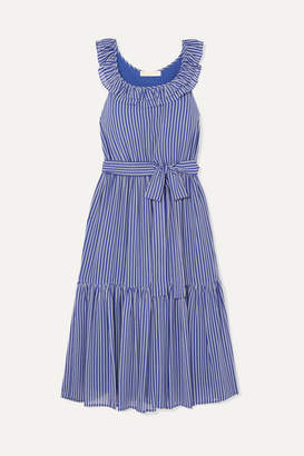 MICHAEL Michael Kors Striped Tiered Crepe Midi Dress - Blue