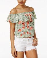 GUESS Ari Floral-Print Off-The-Shoulder Top