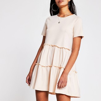 River Island Beige T shirt Tiered Smock Dress