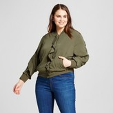 Who What Wear Women's Plus Size Ruffle Bomber Jacket