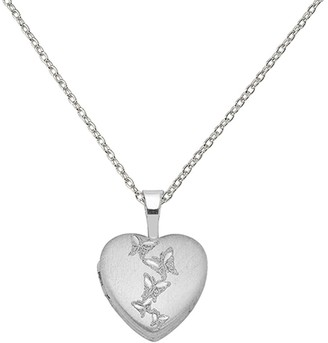 Sterling Silver Rhodium-plated Butterflies 12mm Heart Locket with 18-inch Cable Chain by Versil