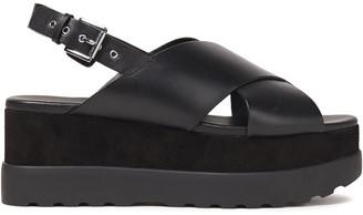 MICHAEL Michael Kors Becker Leather And Suede Platform Slingback Sandals