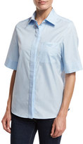 Lanvin Short-Sleeve Logo-Pocket Blouse, Sky Blue