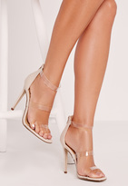 Missguided Perspex 3 Strap Barely There Heeled Sandals Nude