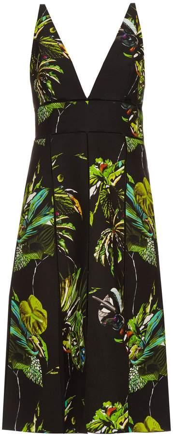 Proenza Schouler Tropical-print cut-out dress