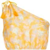 A Peace Treaty Yuna one-shoulder print silk linen-blend top